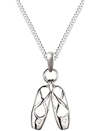 """Silver White CZ Ballet Shoes with 18"""" Chain"""