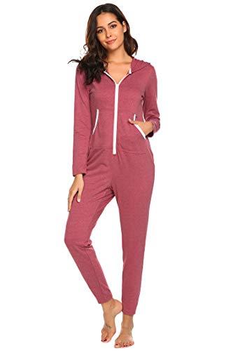 EKOUAER Einteiler Thermo-Unterwäsche Weihnachten Union Jumpsuit Einteiler Pyjama Kapuzenpullover Nachtwäsche für Frauen - - XX-Large