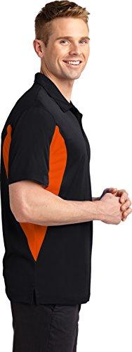 sport-tek Herren Seite blockiert micropique Sport Docht Polo Black/ Deep Orange