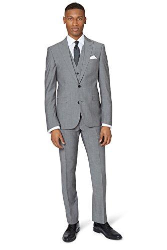 DKNY Herren Anzug Slim Fit Hellgrau 2-Teilig 36S