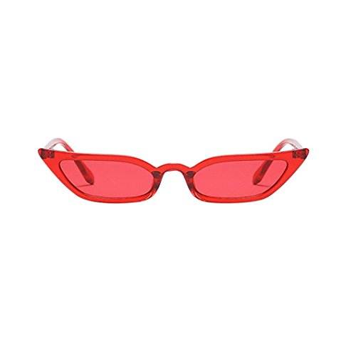 Logobeing Gafas de Sol Del Ojo de Gato de Mujeres Gafas de Sol Del Pequeño Marco Retro UV400 (Rojo)