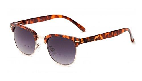 +1.50 Bifokal Sonnen Lesebrille Sonnenbrille Schildkröte Braun und Gold 100% UV-Schutz Gläser Männer Frauen Retro Vintage Zeitlos Fall & Stoff
