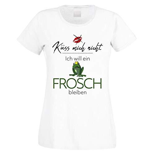 Herzbotschaft Damen T-Shirt weiß Modell: Küss Mich Nicht - Ich Will EIN Frosch bleiben.
