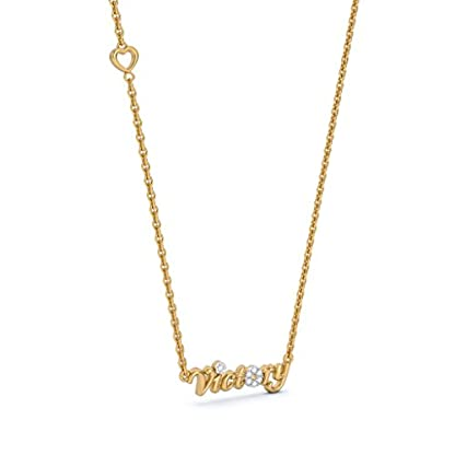 BlueStone 18k (750) Yellow Gold and Diamond Victory Script Chain Necklace