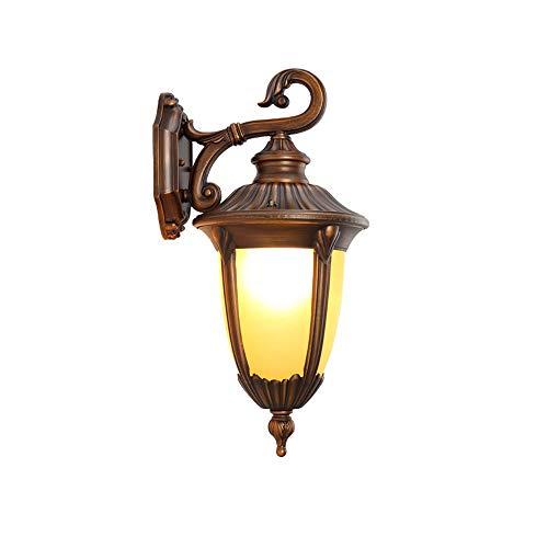 FTLY Antike europäische Garten-Glaswand-Laternen-Leuchter im Freien Edison E27 IP42 imprägniern Druckgussaluminiumbalkon-Wand-Lampen-Hof-Straßen-Tür-dekorative Wand-Leuchte (Größe : M) -
