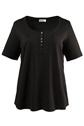 Ulla Popken Femme Grandes tailles T-shirt en coton épais pour Uni Manches Courtes Blouse Débardeurs T-Shirt Tee noir 52/54 697643 10-50+