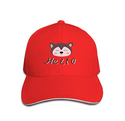 zexuandiy Adjustable Hat Baseball Flat Bottom Cap Cute Husky Puppy Carton Childish Print Card Fabric Cute Husky p red -