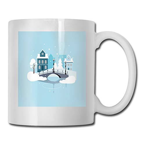 Jolly2T Funny Ceramic Novelty Coffee Mug 11oz,Winter Season Composition Snow Pattern with Houses and Bridges Architecture,Unisex Who Tea Mugs Coffee Cups,Suitable for Office and Home Bee House-infuser