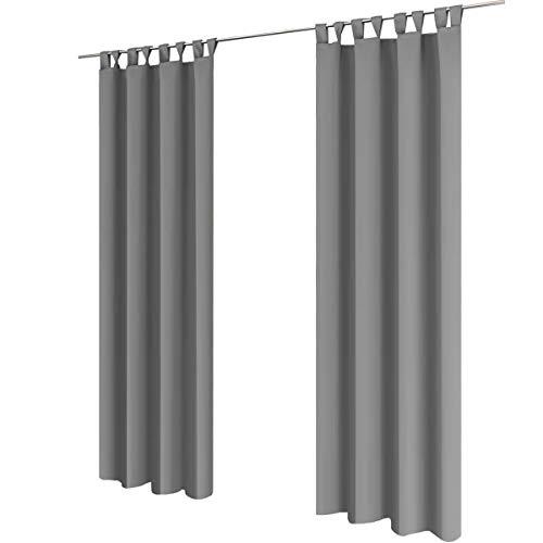 Gräfenstayn® Alana - blickdichte einfarbige Thermogardine Verdunklungsgardine mit Schlaufen - 135 x 245 cm (Breite x Höhe) - viele attraktive Farben - Gardine Vorhang (Grau)