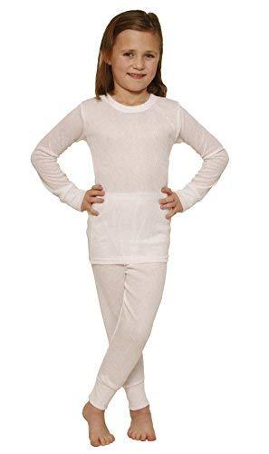 Octave Octave - Mädchen Thermo-Unterwäsche-Set - Langarm-Shirt und Lange Hose - weiß - 12-13 Jahre [Brust: 76,2-81,2 cm]