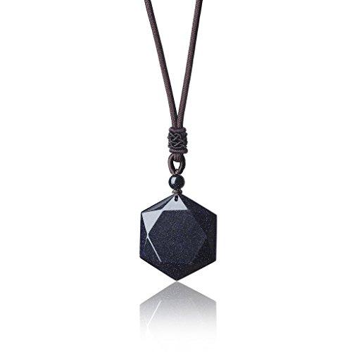 COAI Geschenkideen Glückskette Hexagramm David-Stern Anhänger aus Blauem Sandstein Halskette für Männer und Frauen