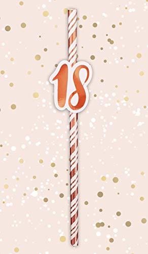 Alandra Strohhalme zum 18. Geburtstag, cremefarben und rotgold, metallisch, Einheitsgröße (Dress Tower Up)