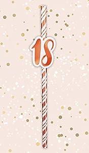 Alandra Cumpleaños STRAW-18 18th Pajitas de cumpleaños Crema y Oro Rosa metálico, Talla única