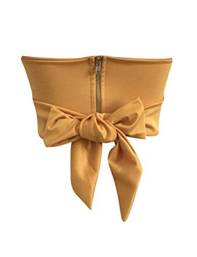 Nlife Camicia Camis Camicia a Maniche Lunghe con Zip e Canotta Yellow