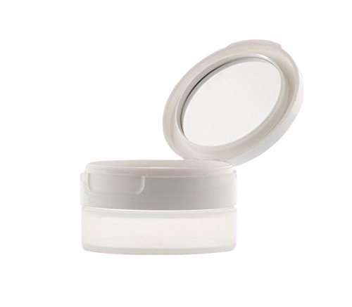 Transparente Acryl-Aufbewahrungsbox für Puder, leer, nachfüllbar, lose Puder, Make-up-Dosen, Kosmetik-Aufbewahrungsbox mit weißem Filp Deckelsieb und Spiegel -