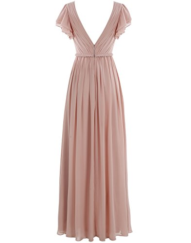 Dressystar Robe femme élégante simple,Robe demoiselle d'honneur, soirée/bal longue à col en V en mousseline Blanc