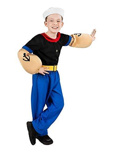 Popeye Comic Seemann Kinder-Kostüm 7-teilig - Hemd, Hose, Muskel-Arme und Matrosenmütze (134-140)