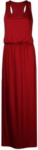 Purple Hanger - Damen Einfarbiges Ärmelloses Jersey Maxi Kleid Runder Ausschnitt Racer Rücken Toga Übergröße - 52 / 54, Rot