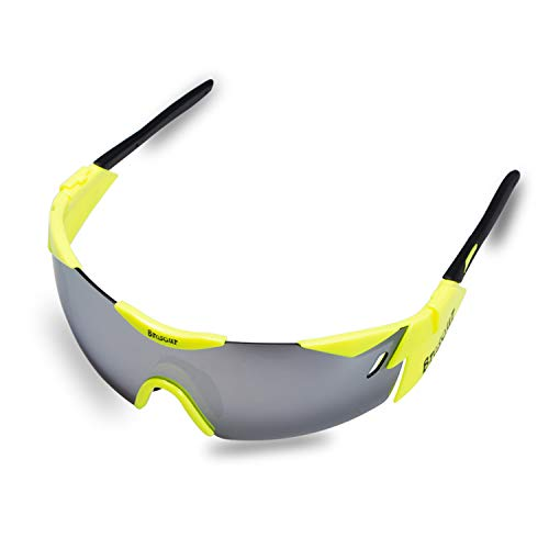 BRZSACR Sport-Sonnenbrille mit austauschbaren Lenes für Männer Frauen Radfahren Laufen Fahren Angeln Golf Baseball Brillen (3-Farben-Wechselobjektiv) (Gelb)
