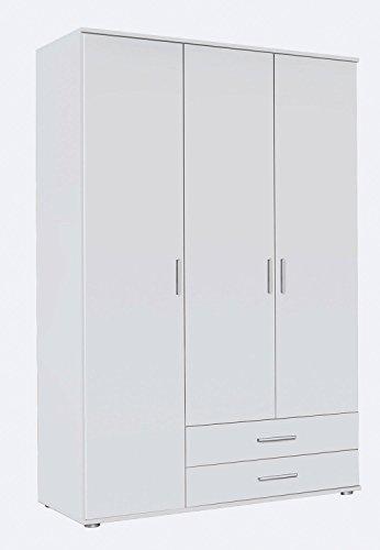 Kleiderschrank Schlafzimmerschrank Drehtürenschrank ROLAND 1 | 3-türig | Dekor | Grau | Weiß | 127x188x52 cm