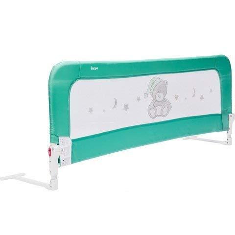 ZOPA Bettgitter Monna - Bettschutzgitter für Kinder ab 18 Monaten bis 5 Jahren - Rausfallschutz mit Gelenk zum Aufklappen - Babybettgitter mit einfacher Montage, pflegeleicht (Menthol Mint)