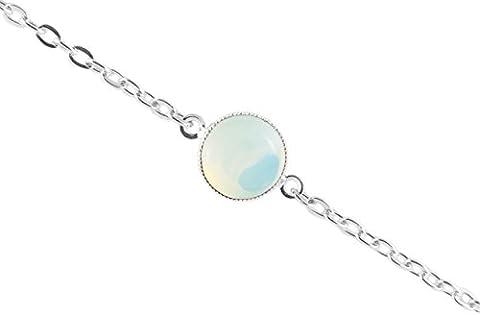 925 Silber Plattiert Armband Kette 14cm Runde Minimalistischen 10mm Weiss Opal Mondstein Gold Tschechische Glas-Stein Handmade (Opal Gold Überzogenes)