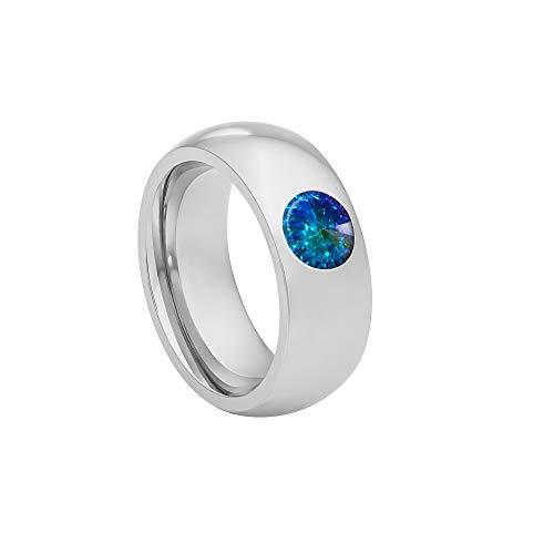 Coma 8 aus Edelstahl Silber farbend poliert Damenring für Frauen mit Swarovski Stein Kristall Aurore boreale Opal im Fantasie Edelsteinschliff 6mm ()