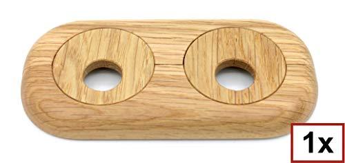 3 ST/ÜCK Doppel-Rosette f/ür Heizungsrohre 12mm bis 18mm Heizung f/ür Laminat und Parkett PP mit Holz-Dekor: Ahorn 2-teilig 15mm, Buche - Dekor Abdeckung Eiche Heizk/örper Buche