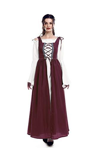 ROLECOS Irisches Renaissance-Kostüm für Damen, mittelalterliches Kleid und Chemise - Rot - XX-Large/XXX-Large -