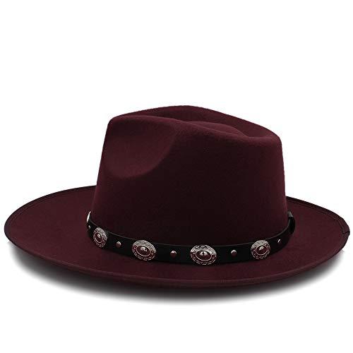 YongYeYaoBEN Moda Chapeau Wide Brim Autumn Lady Mujer Caliente Sombrero de Copa Jazz Cap Invierno Fedora Hat para Mujer Hombre Sombrero de Lana con Correa de Cuero
