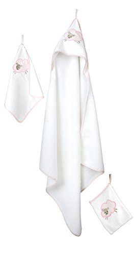 roba Handtuch Set 'Kleine Wolke rosa', 3tlg, Baby Waschset, hochwertiges Frottee, Kapuzenhandtuch, Handtuch 30x30 cm, Waschlappen zum Baden und Pflegen, mit Schafapplikation