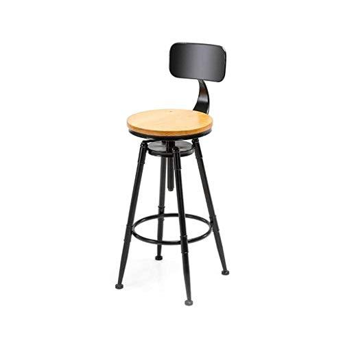 Swivel Barhocker (Kreative Swivel Einstellbare Barhocker Metall Rückenlehne Fußstütze Massivholz Sitz Industrie Vintage Style Cafe Pub Küche Zähler Hochstühle Esszimmer HENGXIAO)