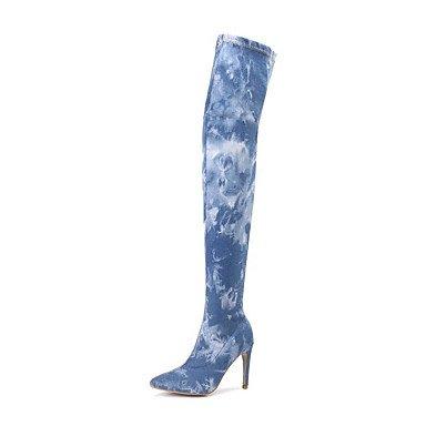 RTRY Scarpe Donna Denim Autunno Inverno Cowboy / Western Stivali Stivali Sopra Il Ginocchio Stivali Per Luce Casual Blu Blu US6 / EU36 / UK4 / CN36