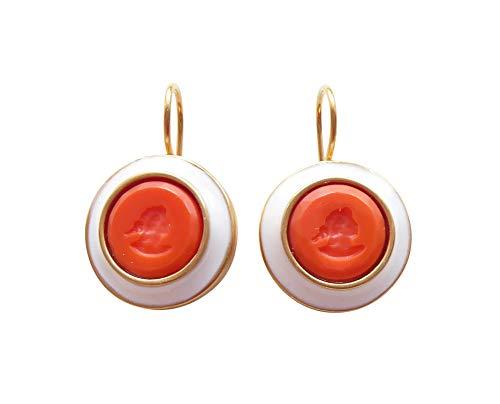 Orange Gemmen-Ohrringe Ohrhänger korall-rote Glas-Gemme weißer Emaille-Rand Bronze vergoldet Handarbeit Designer klassisch edle EXTASIA