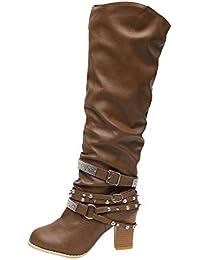 LuckyGirls Botas Muslo de Caña Alta para Mujer Zapatos de Tacón con Hebilla  y Remaches Botitas da1e7f8620f77