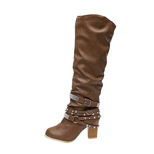 Blockabsatz Winterstiefel Damen,Elecenty Frauen Mit Strass Stiefel Hoch Absatz Stiefeletten Gürtelschnalle Lederstiefel Boots Langschaftstiefel
