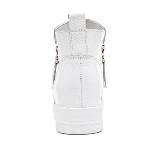 JRenok Botte Mode Basket Cuir Fermeture Éclair Latéral Double Chaussure Femme Haut Tige Talon Compensée Bottine Courte noir plus samt