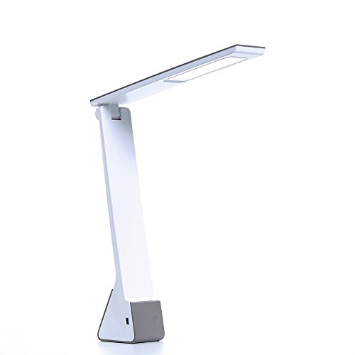 LED Desk Lamp, KQRNS Dimmable LED Table Lamp 3 Lighting Level, Touch Sensitive Desk Lamp, Rechargeable Touch Lights Table Lamps For Bedroom Grey(Eye-caring Light Design, Three Color Modes, Smart USB Charging Port, Adjustable Arm, Energy-efficient)
