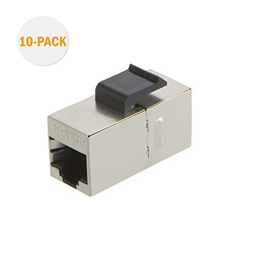 Cat5e Keystone Coupler (CableCreation 10-PACK Cat5e geschirmte Inline Modular Koppler mit Keystone Latch, RJ45 Modular Koppler für Panel Anschluss, Cat5e 8P / 8C Female to Female Class D)