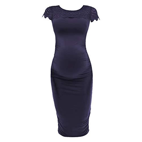 SoonerQuicker Kleid Umstandsmode Pyjama Frauen Mutterschaft Lace Inset Geraffte Hülle Schwangerschaft Nursing Baby Kleid Dunkelblau S -