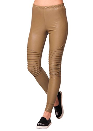 Shiny Leggings für Damen in Beige by Sassyclassy | Skinny-Leggings in Leder-Optik | Größe 38 | Stretch-Hose High Waist mit abgesteppten Biker-Knees | Hot Glanz PU-Lederleggings aus Kunstleder (Braun Kleid Stiefel Leder)