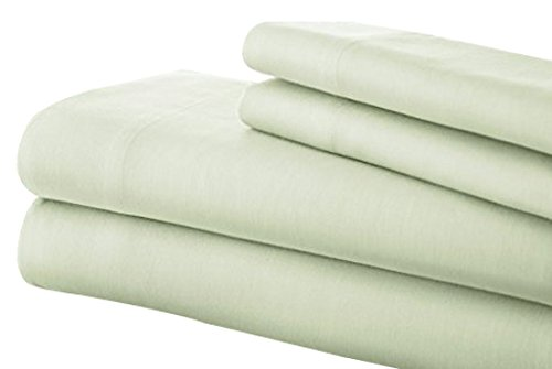 Pacific Coast Textilien T200 Baumwolle massiv Bettlaken-Set, Soft Jade, Queen, 4-TLG. -
