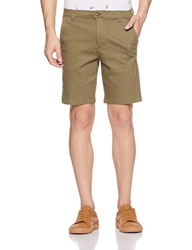 Amazon Brand - Symbol Men's Straight Fit Shorts (SS18-SMCT-0055_Olive_34)