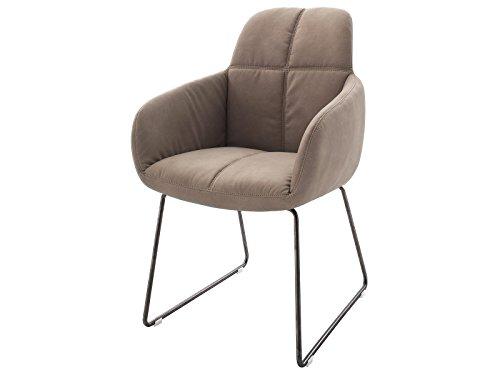 möbelando Esszimmerstuhl Kufenstuhl Polsterstuhl Küchenstuhl Stuhl Moorea III (2-er Set) Schlamm