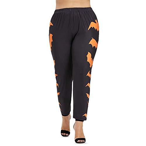 Tianzhiyi Pantalones Deportivos Patrón de murciélago Lateral de Talla Grande para Halloween Leggings con aro Entrenamiento Fitness Atlético Pantalón Púrpura (Size : L)