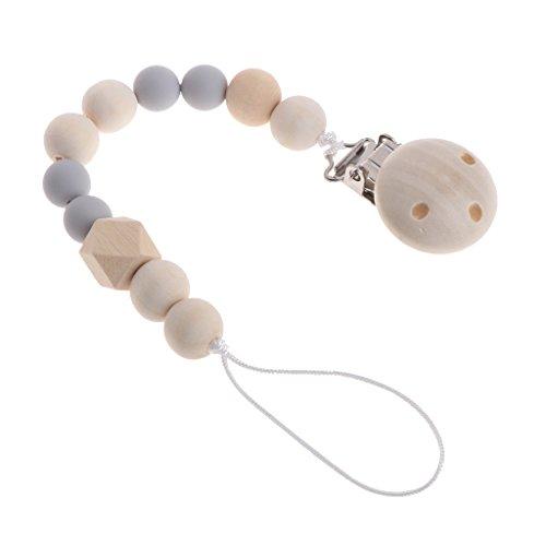 MIsha cadena chupetes Clip de madera chupete perlas de mordedor de madera natural(Gris)