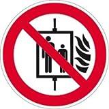 Aufkleber Aufzug im Brandfall nicht benutzen gem. ASR A1.3/ DIN 7010 Folie selbstklebend 5cm Ø 10 Stück (Brandschutz, Verbotsschild, Fahrstuhl) praxisbewährt, wetterfest