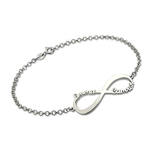 rte 925 Sterling Silber Infinity Name Armband Fußkettchen endlose Liebe für Liebhaber ()