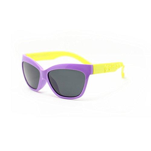 Polarized Sunglasses UV Protection Cat Eyes Jungen und Mädchen Flexible polarisierte Sonnenbrille mit Etui UV-Schutz für Kinder von 3 bis 10 Jahren Unisex for Driving Fishing Golf ( Farbe : Lila )