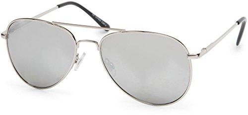 styleBREAKER Sonnenbrille verspiegelt, Pilotenbrille getönt mit Federscharnier, Unisex 09020037, Farbe:Gestell Silber/Glas Silber